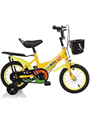 MAIBQ Children's Bike with Training Wheels, Back Set and Front Basket 16 Inch, Yellow