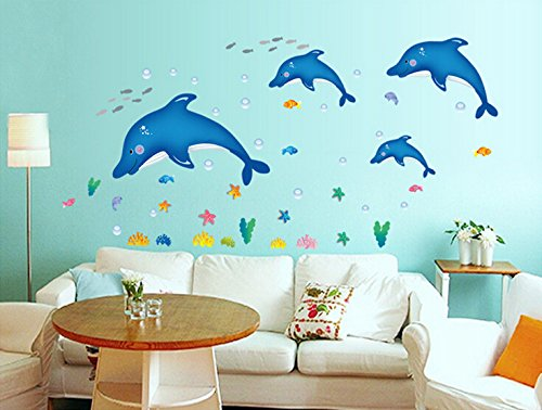 Yoovi Home Decorations Wall Decor Decals Peel and Stick Removable Wall Decal Stickers for Bathroom Kitchen and Kids' Room, Dolphins (17.7'' X 23.6'')
