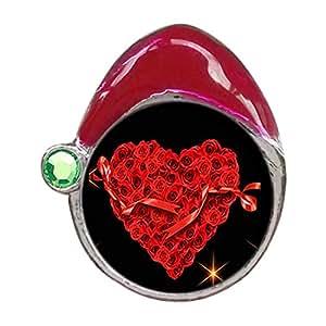 Cute corazón rojo rosa cristal Peridot de agosto Birthstone rojo gorro de Papá Noel encanto pulseras