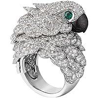 Meenanoom 925 Silver Ring Animal Parrot 8.6CT White Topaz Emerald Wedding Cocktail Sz 6-10 (7)