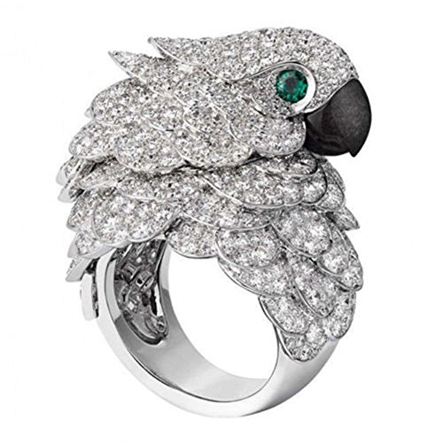 Meenanoom 925 Silver Ring Animal Parrot 8.6CT White Topaz Emerald Wedding Cocktail Sz 6-10 (8)