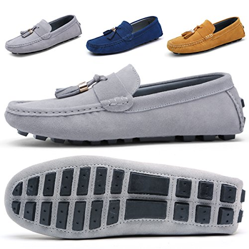 Mens Casual Dress Boat - Mens Penny Loafers Suede Driving Moccasins for Men with Soft Sole Flats Casual Dress Boat Brown Shoes(13,Grey)