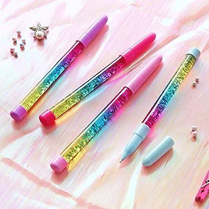 Analytical Novelty 0.5mm Rainbow Color Creative Ball Pen Fairy Stick Ballpoint Pen Drift Sand Glitter Crystal Pen For Girl Gift Stationery Pens, Pencils & Writing Supplies Office & School Supplies