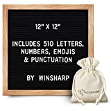 """Changeable Felt Letter Board + Eisel Stand + Letters, Numbers (12"""" x 12"""")"""