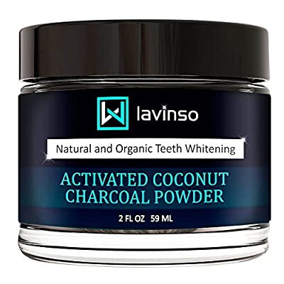 Lavinso All Natural Teeth Whitening Powder - Made in USA Coconut Activated Charcoal - Organic and Safe for Tooth - Effective than Whitener Toothpaste, Strips, Gel & Kit.
