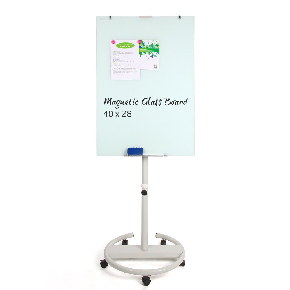 Glass White Board,Magnetic Glass Dry Erase Board 40x28 inches Mobile Whiteboard Flipchart Easel Height Adjustable White Board with Marker Tray, 1 Eraser, 3 Markers, 2 Strong Magnets WEYOUNG