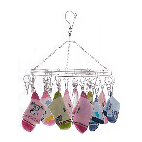 Lingerie Clothes Hangers - Inoutdoorkit Clip & Drip Laundry Clothes Socks Drying Hanger Stainless Steel 20 Clips for Underwear, Lingerie, Bra, Kids Baby Clothes, Diapers, Towel, Hat, Scarf, Gloves SHR20 (Stainless Steel)