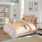 CASA Children 100% cotton series Cat and car Cushion cover & Sheet & Pillowcases & duvet cover,3 Pieces,Twin