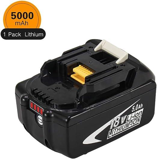 BL1850B BL1830 BL1860 BL1850 BL1830B LXT-400 avec indicateur Boetpcr BL1850B 18V 5.0Ah Lituium Packs de Batterie Remplacement pour Makita BL1860B BL1840B,194204-5,196399-0,196673-6