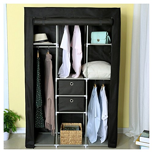 HOME BI Portable Wardrobe Closet, Non-woven Fabric Clothes Closet Storage for Clothes with 2 Drawers, Large Storage Space, Easy to Assemble, 41.34