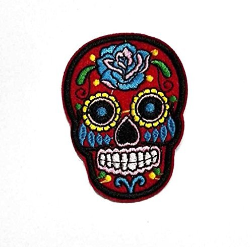 [Red Skull Woo do Patches of Applique Embroidered patches - Iron on Patches by 3A1Y] (Cute Halloween Names For Kittens)