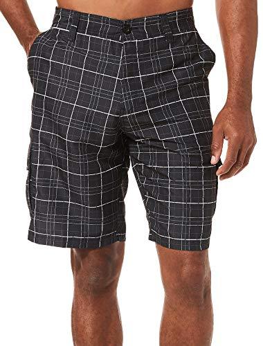 Black Plaid Cargo - Burnside Men's Haze Printed Microfiber Cargo Short, Black/White Bold 38
