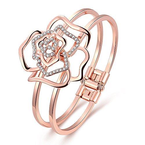 Dilanco 18K Rose Gold Plated ''Rose Shape'' Open Bangle Bracelets for Women by Naivo