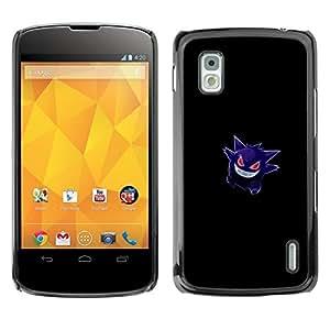 Caucho caso de Shell duro de la cubierta de accesorios de protección BY RAYDREAMMM - LG Nexus 4 E960 - Gengar Pokemon