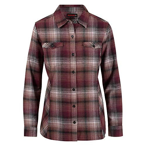 - Wolverine Women's Autumn Long Sleeve Flannel Shirt, Black Plaid, X-Large