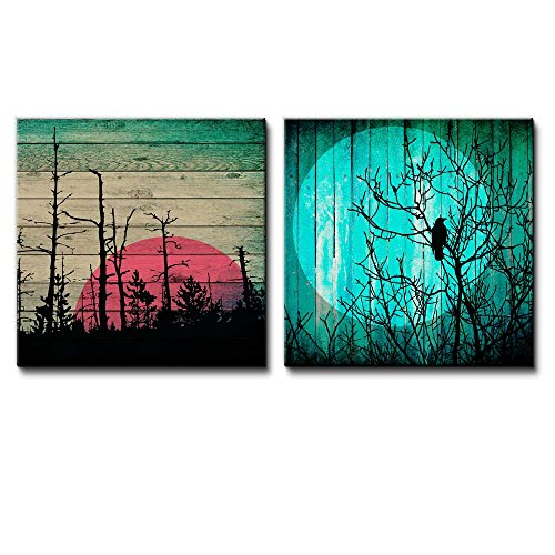 Illustration of Sunset Behind Silhouette of Trees Over Wooden Panels Along with Silhouette of Tree Under the Moonlight