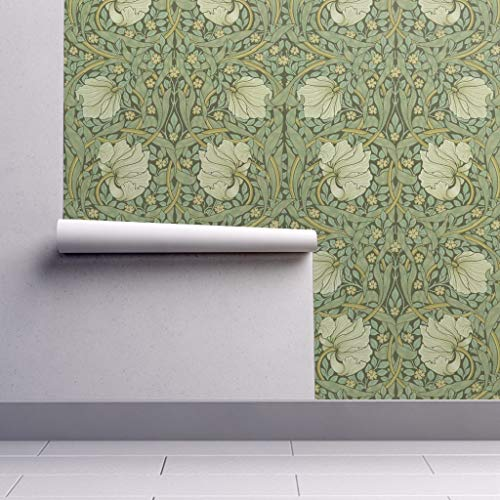 Peel-and-Stick Removable Wallpaper - Floral Vintage Deco Print Floral William Morris Damask Pimpernel Sage by Peacoquettedesigns - 24in x 60in Woven Textured Peel-and-Stick Removable Wallpaper Roll ()