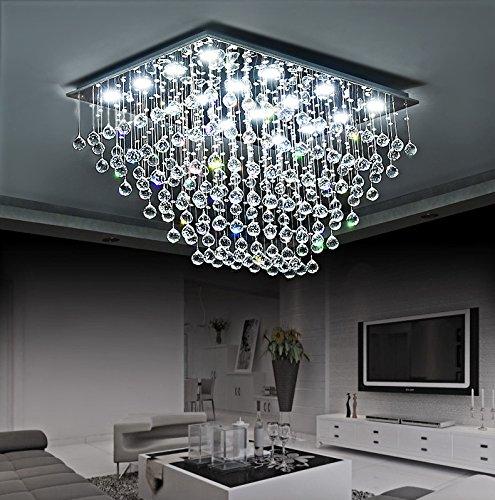Siljoy Modern Rectangular Crystal Chandelier Lighting Rain Drop Flush Mount Ceiling Lighting L39.4″ x W27.6″ x H23.6″