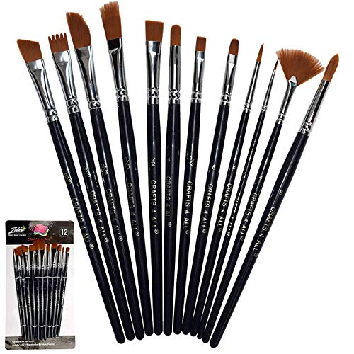 Crafts 4 All Artist Paint Brushes – Professional,Wide Tip, Nylon Hair Paintbrushes – Paintbrush Set of12for Acrylic, Watercolor & Oil Painting – Art Supplies
