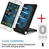 3 Coil Qi Wireless Charger, Foldable Inductive Phone Charger Station Powermat for iPhone 6 6s Plus SE 5 5c 5s 7 7Plus, Black (Shipped with Charging Receiver for iPhone)