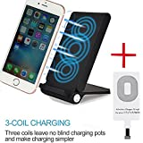 3 Coils Qi Wireless Charger Pad, Foldable Inductive Phone Charger Station Powermat for iPhone 6 6s Plus SE 5 5c 5s 7 7 Plus, Black (Shipped with Charging Receiver for iPhone)