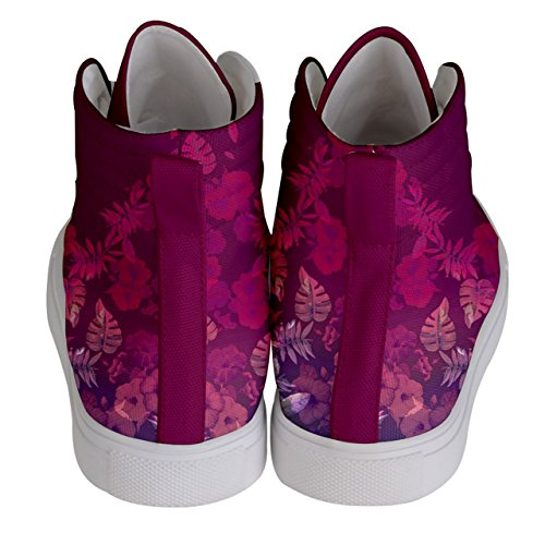 CowCow Lila High Top Blumen Pink Fashion Sneakers Womens Skate auf von Vintage Womens r7qnwCrf