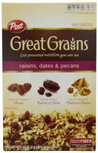 Post Great Grains Raisins Dates Pecans Cereal, 40.5-Ounce (Great Grains Cereal)