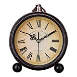 KTYJH 6 〃 Roman Numerals Creative Alarm Clock Mute Personalized Bedside Table Clock Wrought Iron Vintage Small Clock Lazy Fashion Student Clock Alarm