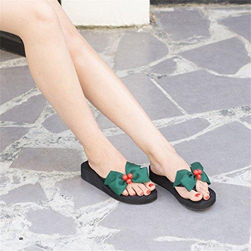 con Toe Slipper Casual nere verde Heel Slip scarpe Beach On zeppa vacanza per Platform sandalo dolce donna 5cm 3 mid in ragazza fiocco flat con Mid Heel estiva Clip donna EVA XrwXa0