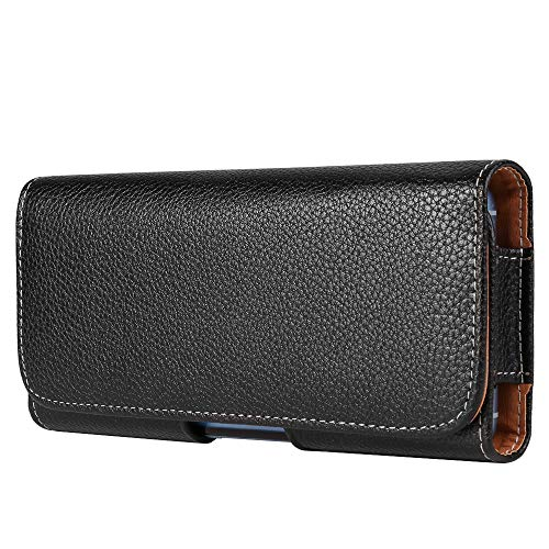 Black Texture Horizontal Cell Phone Holster Hip Pouch Compatible for Apple iPhone XR/XS Max/Samsung Galaxy S9+ S8+ / A7 A8 J7 / Huawei P20 Pro/Nova 3i / Honor View 10 / BlackBerry Motion (Horizontal Pouch Leather Blackberry)
