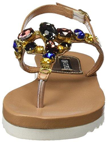 Varias Ankle Piedras Sandals Cuple Women's Strap with Brown Cuero Sand gxqcfwvt