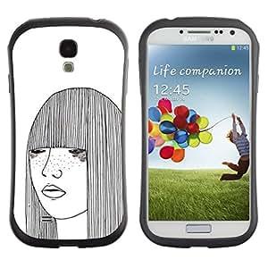 LASTONE PHONE CASE / Suave Silicona Caso Carcasa de Caucho Funda para Samsung Galaxy S4 I9500 / girl sketch white freckles woman art
