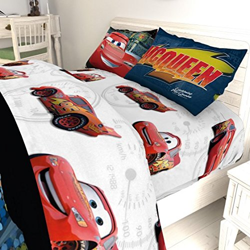 5 Piece Kids Blue Red Lightning McQueen Comforter Twin/Full Set, Racing Cars Bedding Disney Car Themed Racecar Sport Driving Movie Pattern, Reversible Polyester
