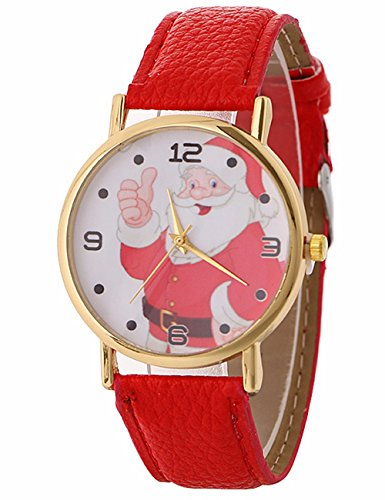 Womens Quartz Watch COOKI Christmas Elderly Pattern Clearance Analog Female Watches Lady Watches on Sale Leather Watch New -A119 (red)
