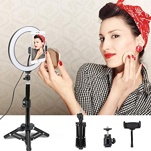 LED Ring Light, ZOMEi 10-inch Desktop Dimmable Beauty Smartphone Ring Light with 45cm Tripod Cell Phone Holder and USB Plug for Makeup, Portrait Photography, Videos, Live Streaming