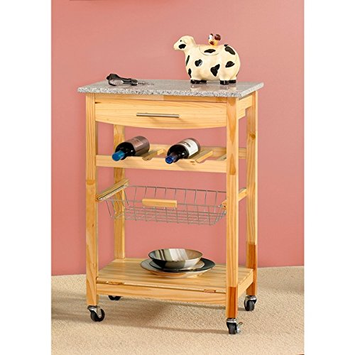 Oh! Home Constance Mobile Kitchen Island | Slide out Wire Storage Basket - MDF, Wood by Oh! Home