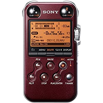 Sony PCM-M10 Portable Linear PCM Voice Recorder with Electret Condenser Stereo Microphones, 96 kHz/24-bit, 4GB Memory & USB High-Speed Port - Red