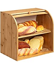 """HollyHOME Bamboo 2-Layer Bread Box, Large-Capacity Bread Box With Rolling Shutter Door, For Storing Bread In The Kitchen 15"""" x 9.8"""" x 14.5"""" Self-assembly"""