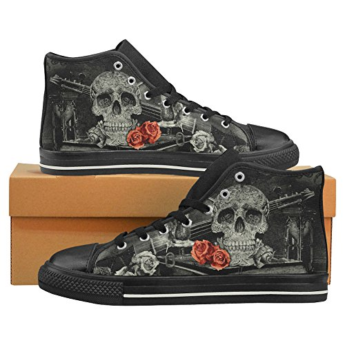 InterestPrint Fashion Sneaker Painted Steampunk Alchemist Mage Red Roses Celtic Skull Men's Classic High Top Canvas Shoes