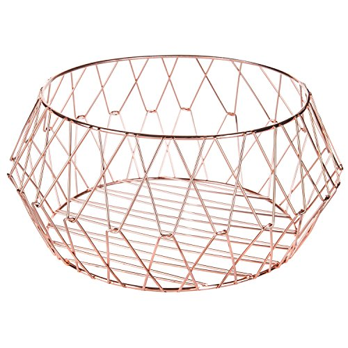 MyGift Rose-Gold Geometric Metal Wire Storage Basket