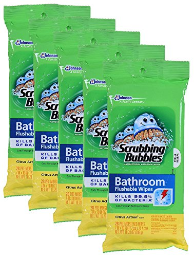 Scrubbing Bubbles Flushable Wipe - Scrubbing Bubbles Antibacterial Bathroom Flushable Wipes YOehR, 28 Count, 5Pack