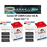 Canon (2-Pack) Canon KP-108IN 3 Color Ink Cassette and 216 Sheets 4 x 6 Paper Glossy For SELPHY CP1300, CP1200, CP910, CP900, CP760, CP770, CP780 CP800 Wireless Compact Photo Printer