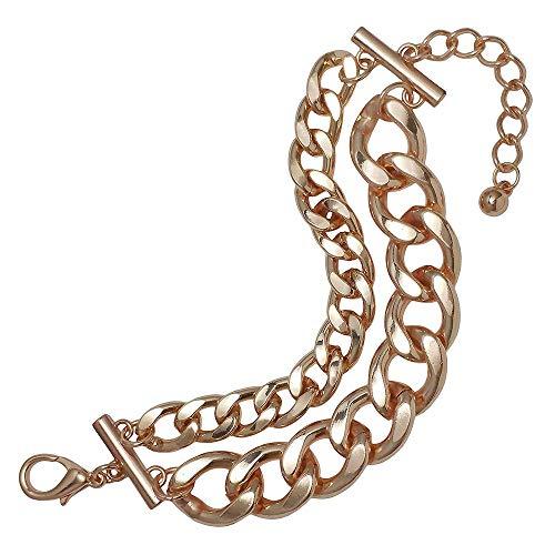 Seraphina New York Double Chunk Chain Toggle Bracelet (Rose - Toggle Double Bracelet Chain