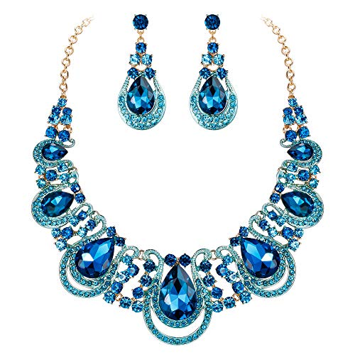 BriLove Costume Fashion Jewelry Set for Women Crystal Teardrop Hollow Scroll Statement Necklace Dangle Earrings Set Blue Topaz Color Gold-Toned