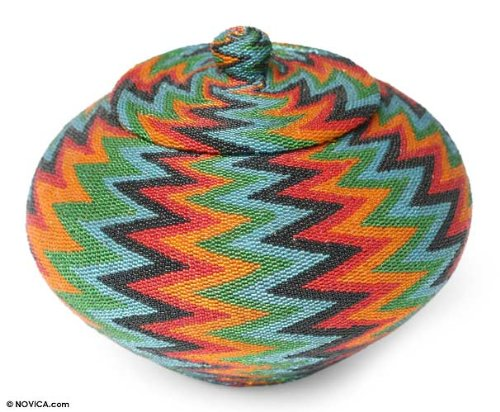 NOVICA Hand Beaded Geometric Pattern Natural Fiber Storage Container, Multicolor Bright 'Forest Lightning' by NOVICA