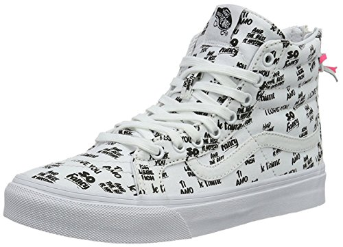 6f2c2dfce497 Galleon - Vans Unisex Baron Von Fancy SK8-Hi Slim Zip White Black Sneaker -  5