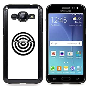 - Minimalist Bulls Eye Abstract White - - Snap-On Rugged Hard Cover Case Funny HouseFOR Samsung Galaxy J2