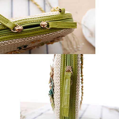 Zhuhaitf Ventas calientes Fashion High Quality Womens Grass Flowers Woven Beach Bags Turf Knotted Rivets Crocheted Bag Blue
