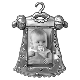 Malden International Designs Girl\'s Outfit Pewter Juvenile Picture Frame, 2x3, Silver