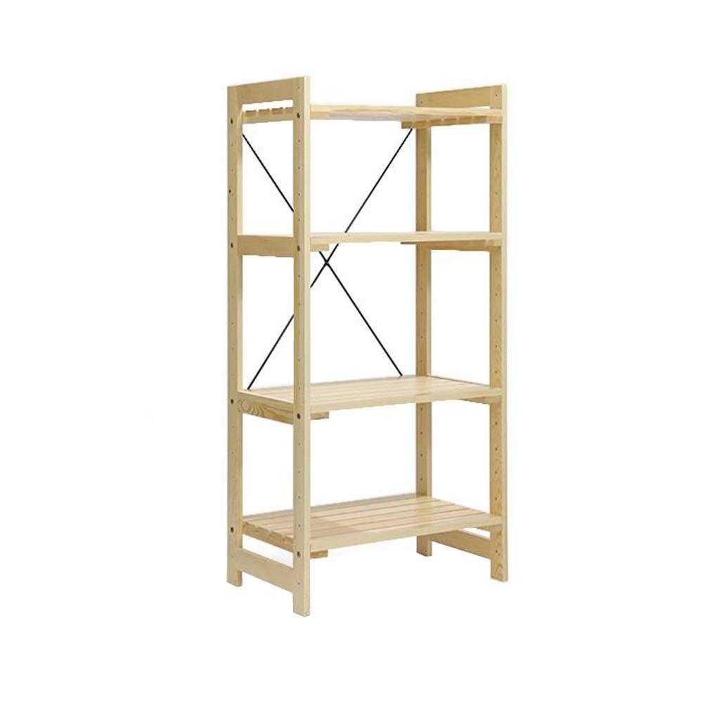 ホーム本棚無垢材収納ラックキッチンクリエイティブ電子レンジオーブンラック多層スプレーペイント湿気防止通気性 TIDLT (色 : Wooden color, サイズ さいず : 58x36.5x121.5cm) B07Q82HQK4 Wooden color 58x36.5x121.5cm